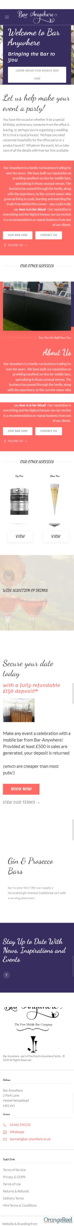 Bar anywhere Website